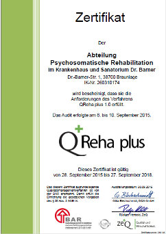 Zertifikat - Q Reha plus im Sanatorium Krankenhaus Dr. Barner
