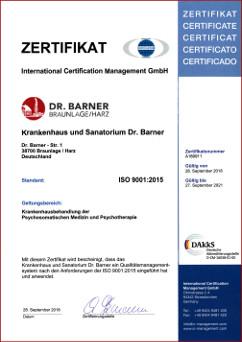 Zertifikat ISO 9001:2015 Krankenhaus Psychosomatik Dr. Barner
